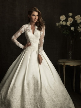 2. Lace Sleeve Ball Gown Dress