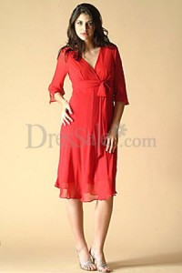 2. Red Chiffon with Sleeves
