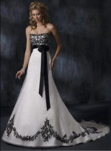 6. Black And White Lace Empire Bridal Gown