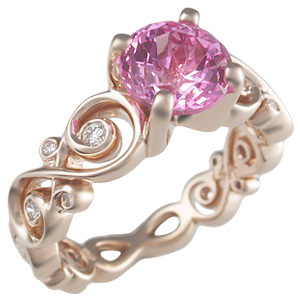 6. Rose Gold with Pink Sapphire Stones