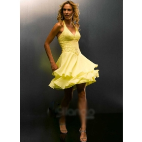7. Halter Style Yellow Bridesmaid Dresses