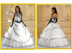 7. Organza Black And White Wedding Dress