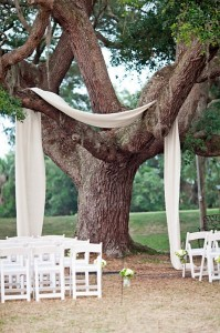 7. Fabric Draped Trees