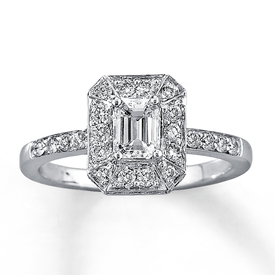 Gold Emerald Cut Diamond Engagement Ring