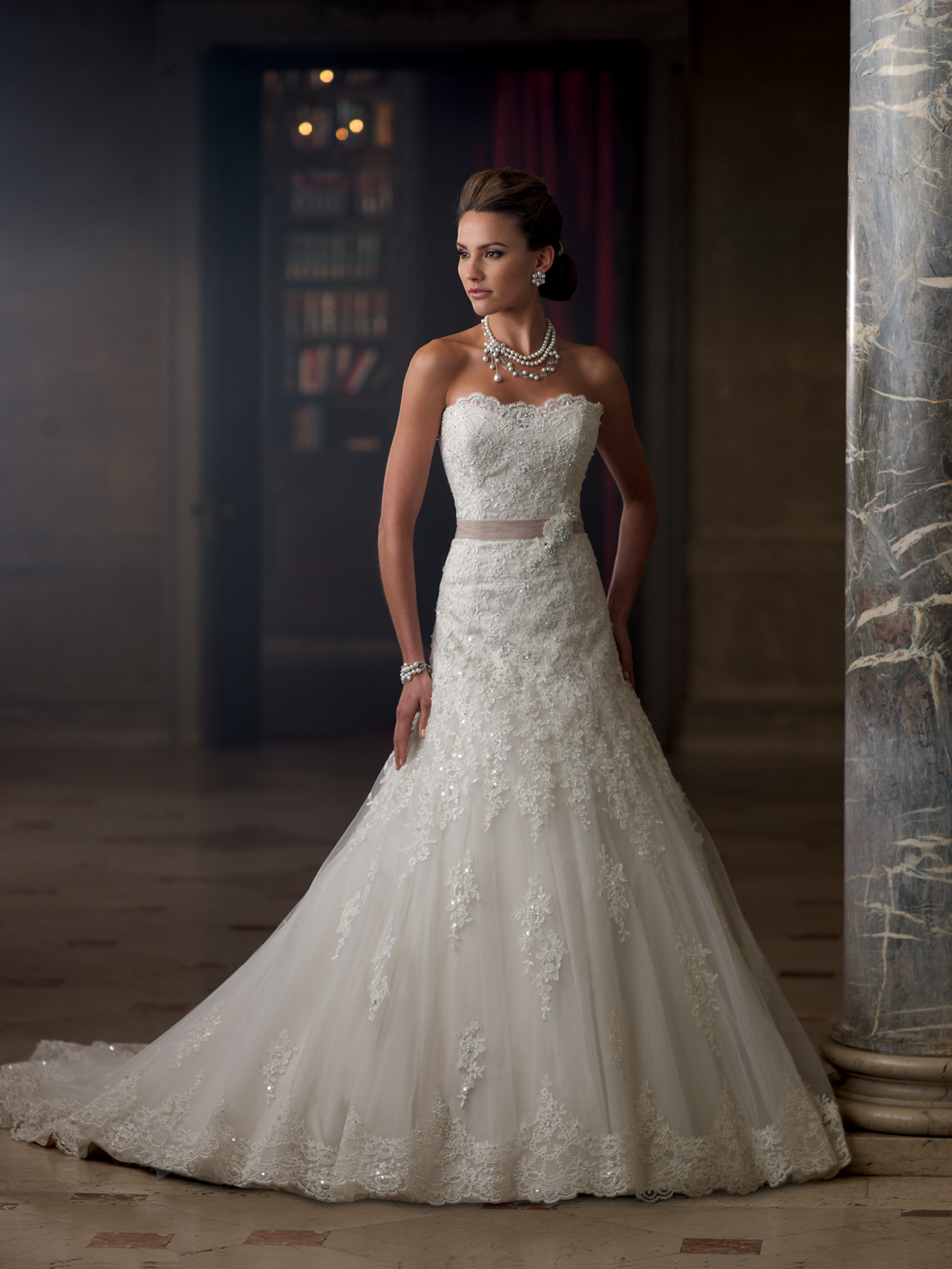 Charlene strapless lace a line wedding dress