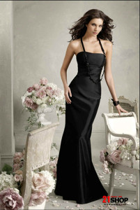 Floor-length-Empire-waist-Strapless-Mermaid--Trumpet-Black-Bridesmaid-Dress-At-a-Low-Price-model-20127970
