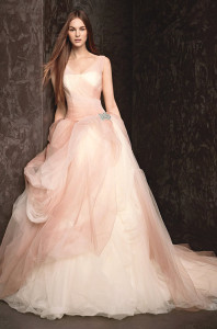 Ombre-printed Tulle Wedding Gown With Sheer Straps