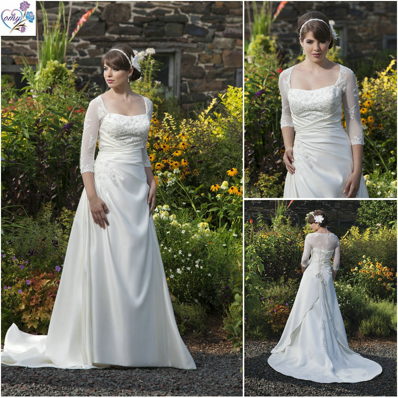 Lace Wedding Dresses With Sleeves Plus Size Images Pictures Becuo
