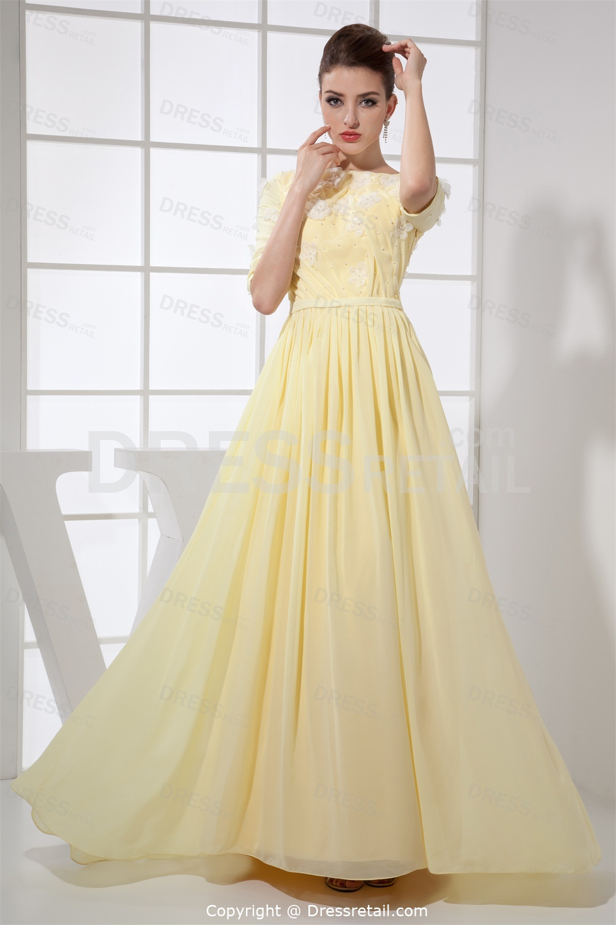 Half Sleeve Light Yellow Dresses
