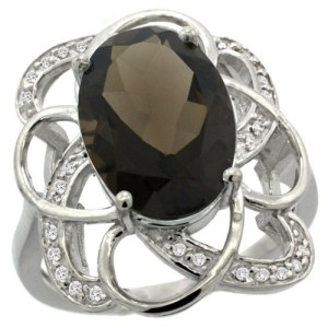 Smoky-Topaz-Floral-Design-Engagement-Ring