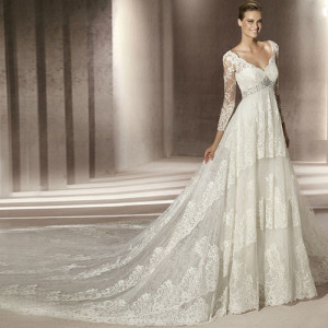 Vintage-sexy-slit-neckline-long-sleeve-V-necklace-long-trailing-wedding-dress-type-2013-w18