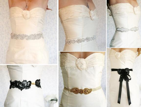 Wedding dress with a red belt 1