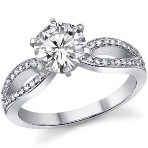 round pave split shank moissanite and diamond ring - Most Beautiful Wedding Rings