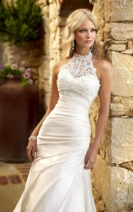 sweetheart-a-line-pleated-wedding-dress-beaded-lace-halter-jacket-4