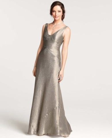 The top ten ann taylor wedding dresses for petite women in 2013 34534ann taylor gold lame v neck gown 1373353452 junglespirit Image collections