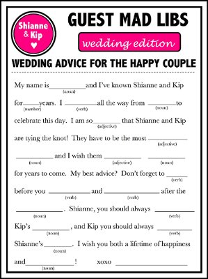 Ten Fun Wedding Mad Libs to Work Into Your Wedding – BestBride101