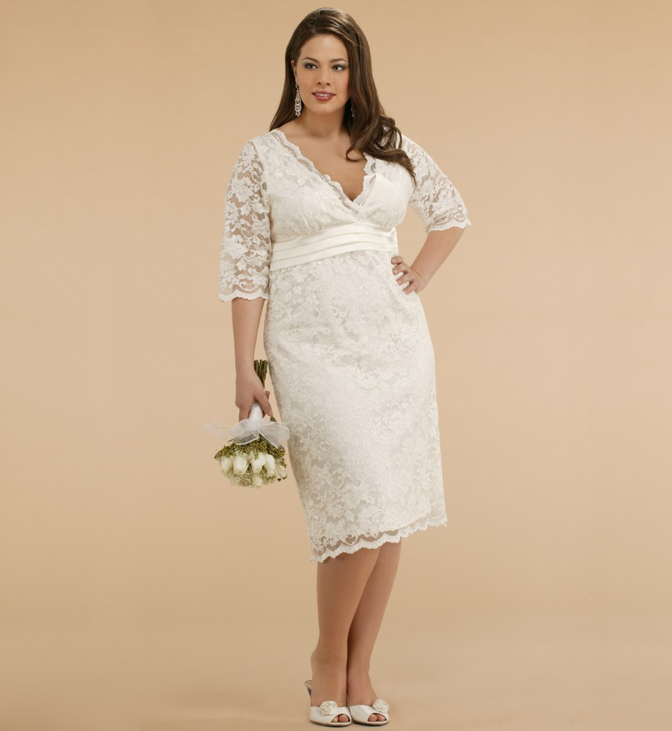 Plus Size Short Ivory Wedding Dresses : Ivory wedding dresses with sleeves plus size
