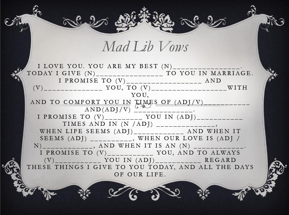Ten Fun Wedding Mad Libs to Work Into Your Wedding – BestBride101