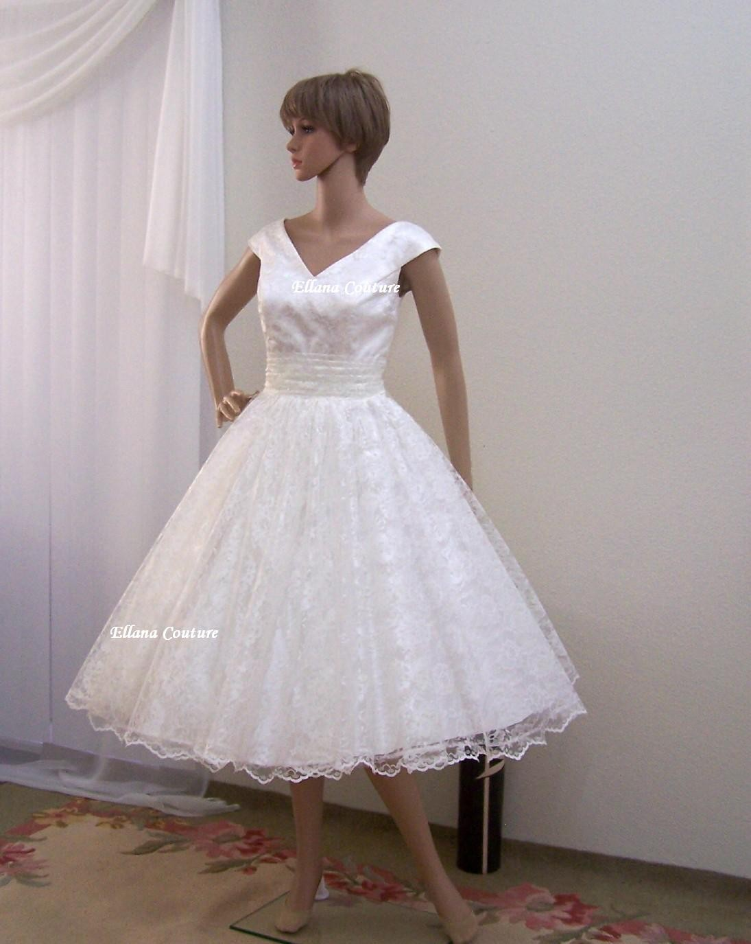Tea length wedding dresses for your 50s style wedding for Tea length wedding dresses