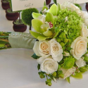 Modern wedding bouquet with peach and green flowers pictures