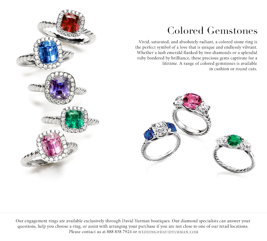 David Yurman Engagement Rings Are Available With Vivid Colored Gemstones A  Ring With A Radiant Colored Stone Is A Unique Choice For A Symbol Of Love