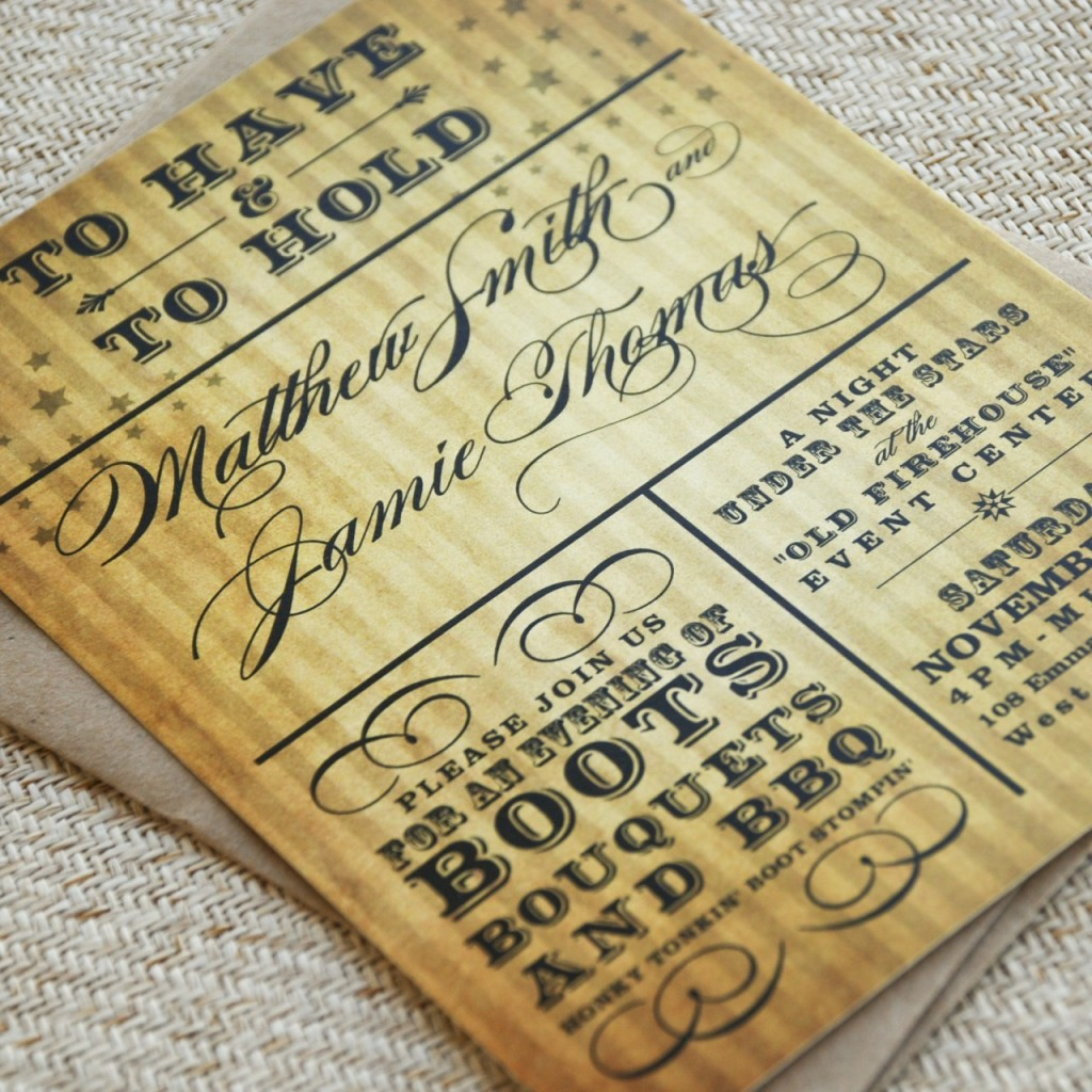 10 sites with charming rustic wedding invitations