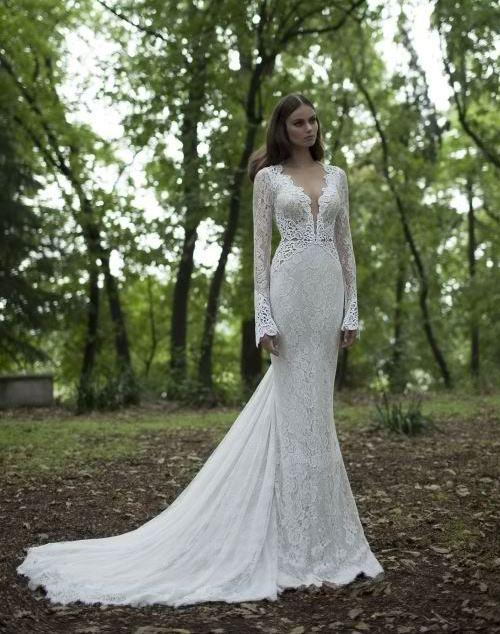 Long bell sleeve wedding dress all pictures top for Bell sleeve wedding dress