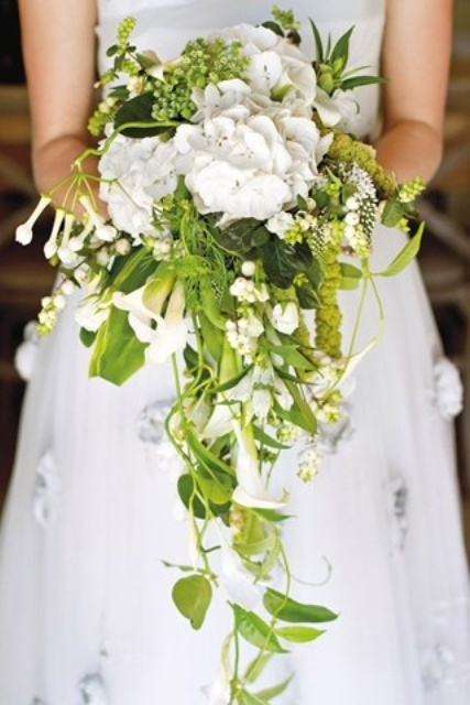 cascading wedding bouquets