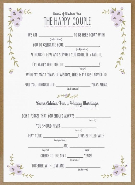 15 mad libs for your wedding bestbride101 for Guest libs wedding edition template