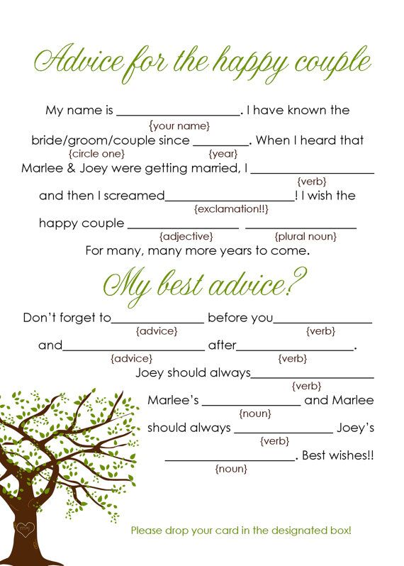 whimsical wedding mad lib
