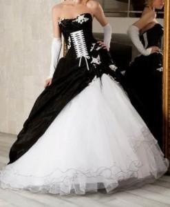 10. A-line Strapless Black Taffeta Ruffled Bridal Gown