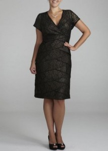 10. David's Bridal Cap Sleeve Short Lace Dress Style S356932