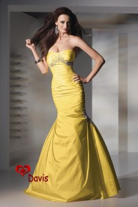 10. Mermaid Yellow Bridesmaid Dress