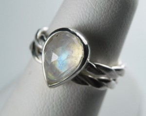 10. Moonstone Pear Shaped Ring