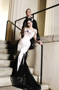 2. Black And White Chiffon Gown