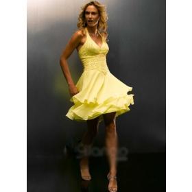7. Halter Style Yellow Bridesmaid Dresses