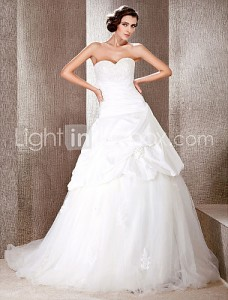 7. Lace Train Wedding Dress