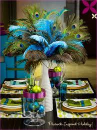 9. An Eye Popping Peacock Wedding Centerpiece