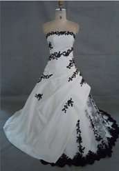 9. Black And White Embroidered Wedding Dress