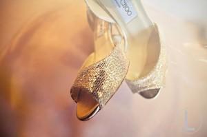 3. Peep Toe Gold Shoes