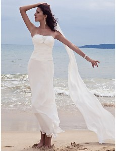 6. Ankle Length Chiffon Wedding Gown