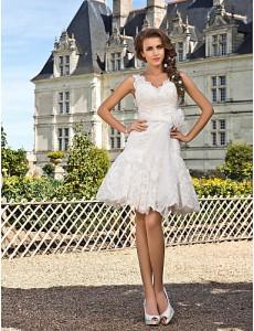 9. A-Line Knee Length Wedding Dress