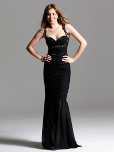 Halter-Neck-Mermaid-Black-Elastic-Chiffon-Wedding-Guest-Gown-of-Beaded-Straps-SG2259