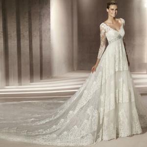 Vintage-sexy-slit-neckline-long-sleeve-V-necklace-long-trailing-wedding-dress-type-2013-w18