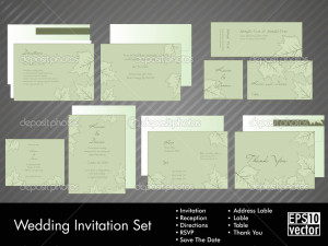 Wedding Invitation Kit with vector illustration in Eps 10.