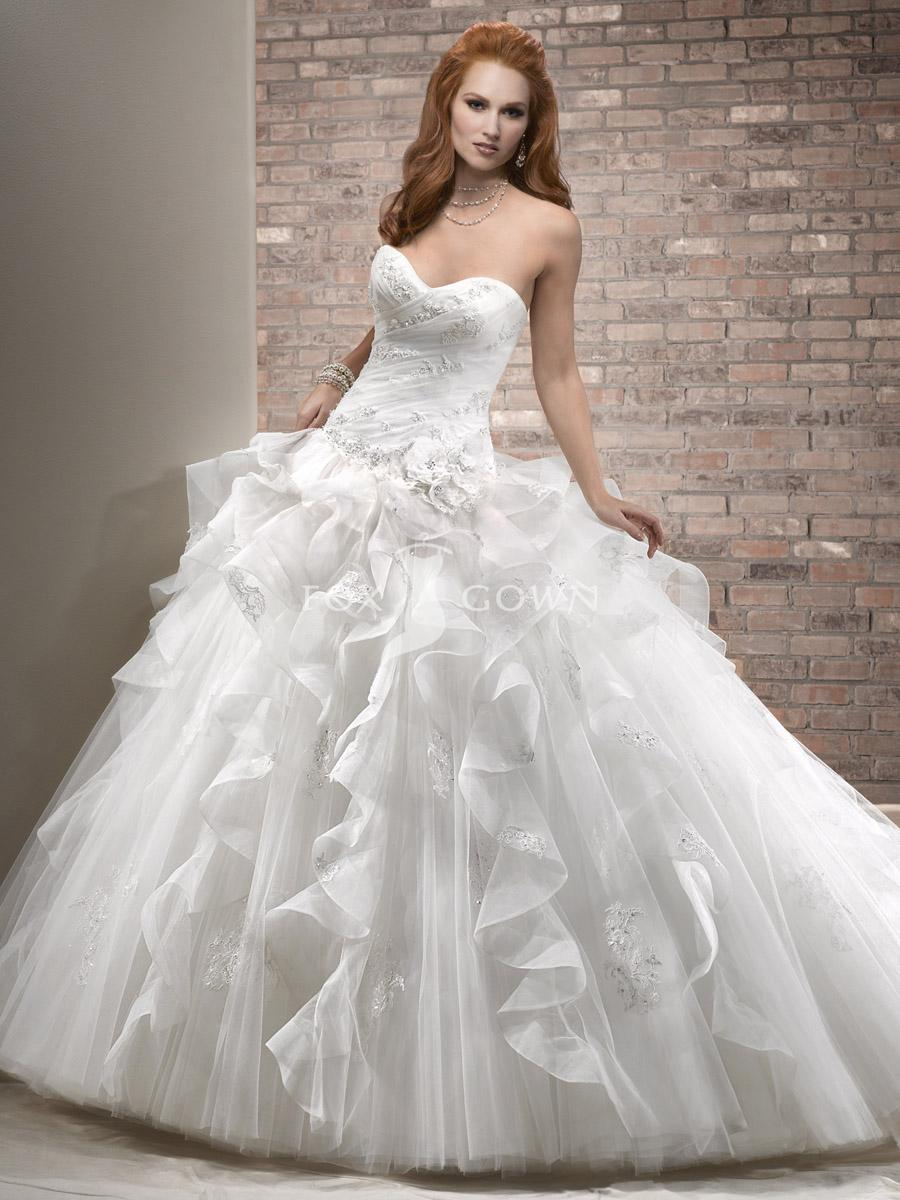 Papilio Lace bodice ball gown wedding dress with tulle skirt