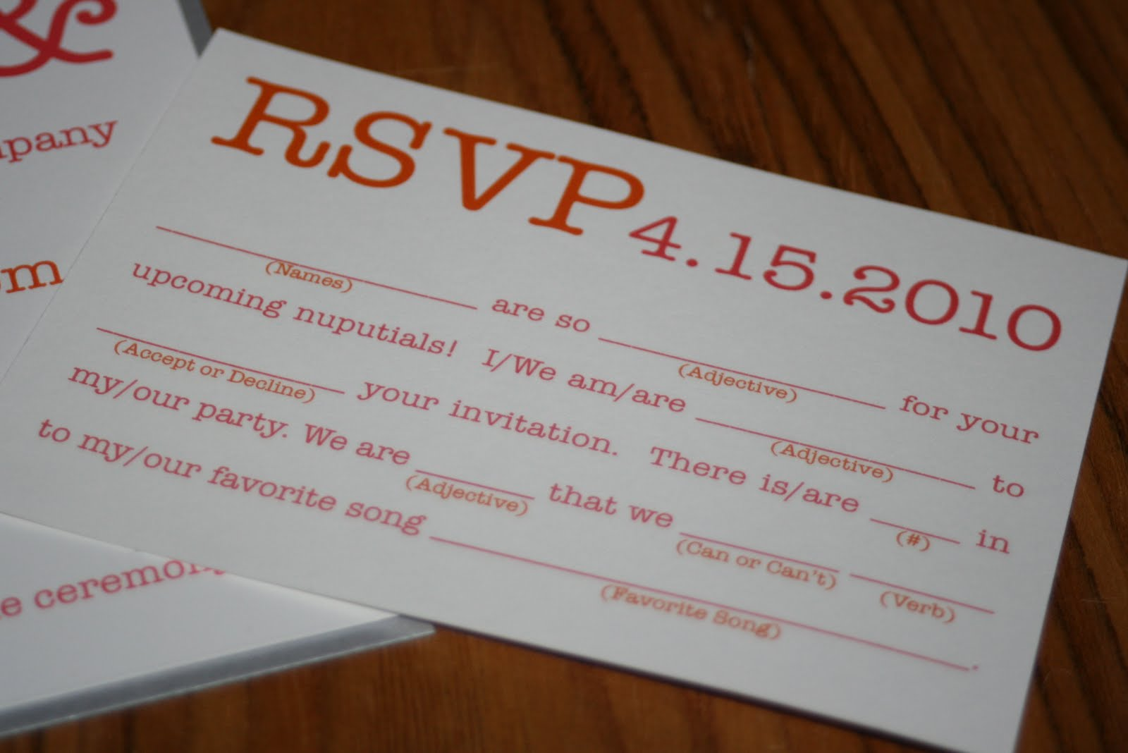 Mad Lib Wedding Rsvp Card Wording Mini Bridal – Funny Wedding Rsvp Card Wording