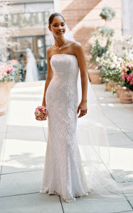 strapless gown outside