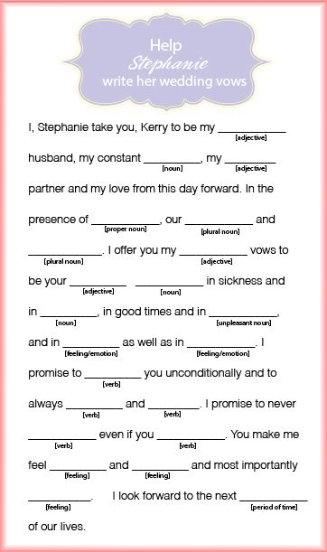 stephanie wedding vow mad lib